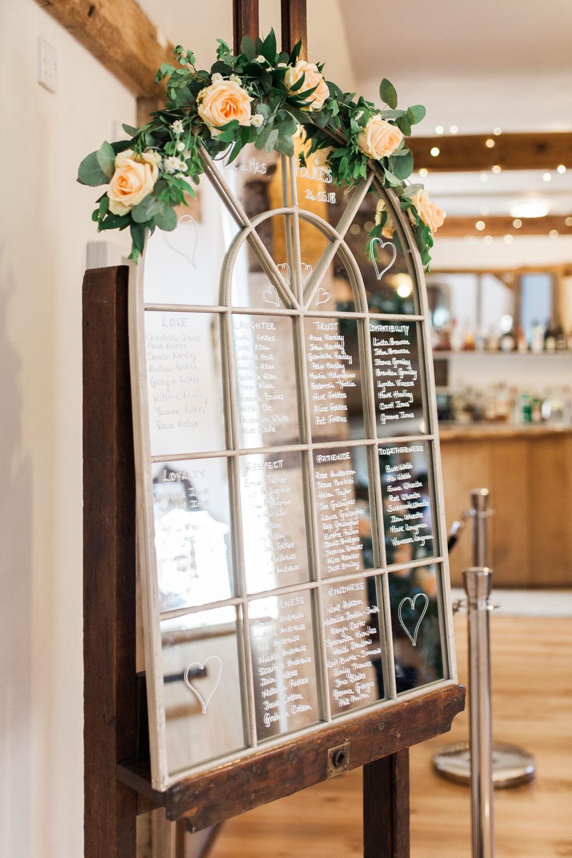 Window Mirror Table Plan Peach Rose Garland Chalk Moreves Barn Wedding Gemma Giorgio Photography