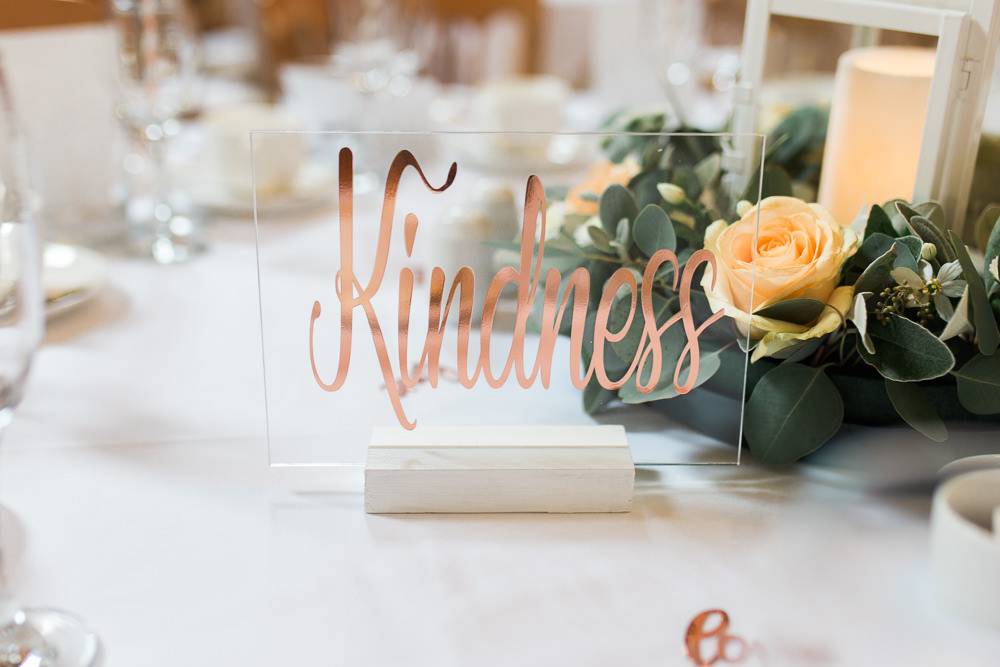 Table Name Perspex Sign Copper Calligraphy Moreves Barn Wedding Gemma Giorgio Photography