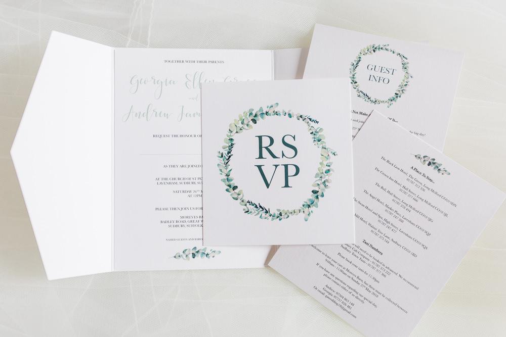 Invitation Stationery Wreath Modern Calligraphy Moreves Barn Wedding Gemma Giorgio Photography