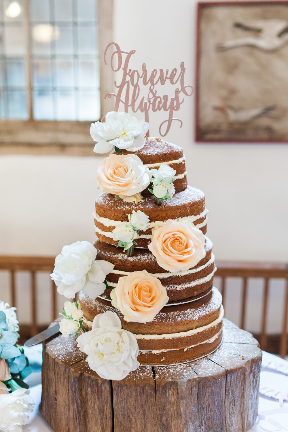 Forever & Always Laser Cut Cake Topper Naked Flowers Rose Moreves Barn Wedding Gemma Giorgio Photography