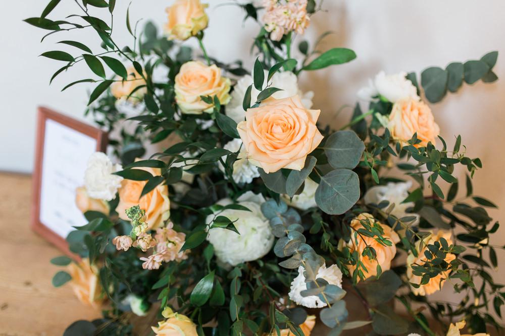 Peach Rose Foliage Peony Bouquet Arrangement Moreves Barn Wedding Gemma Giorgio Photography