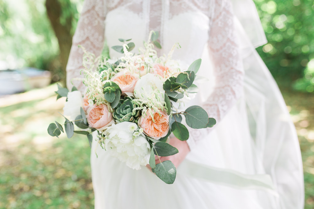 Bride Bridal Maggie Sottero Lace Long Sleeves A Line Suit Peach Rose Peony Eucalyptus Bouquet Moreves Barn Wedding Gemma Giorgio Photography