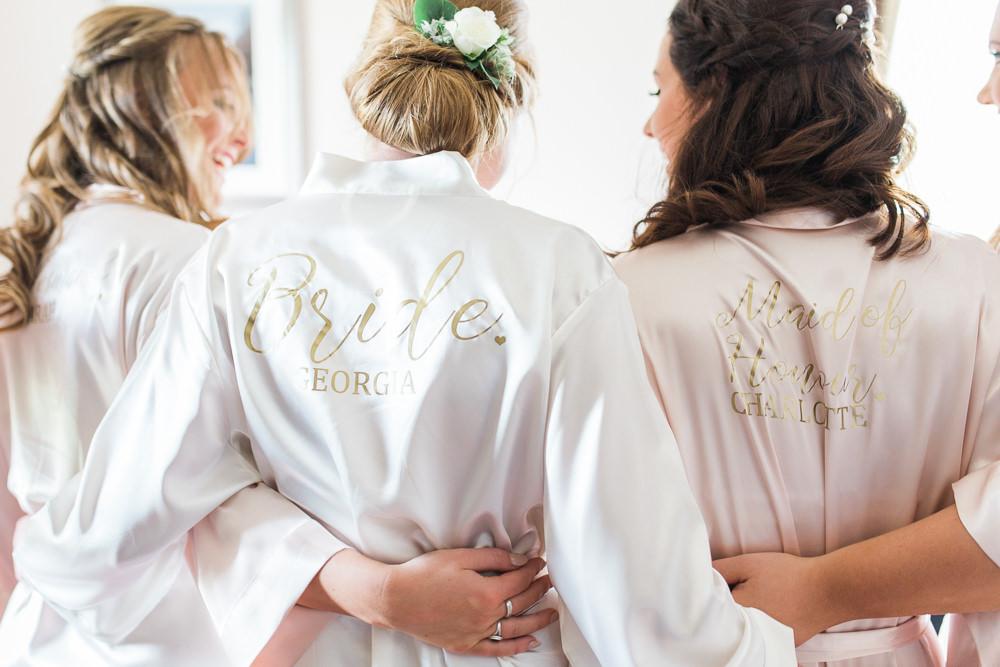 Bride Bridal Bridesmaids Silk Robe Moreves Barn Wedding Gemma Giorgio Photography