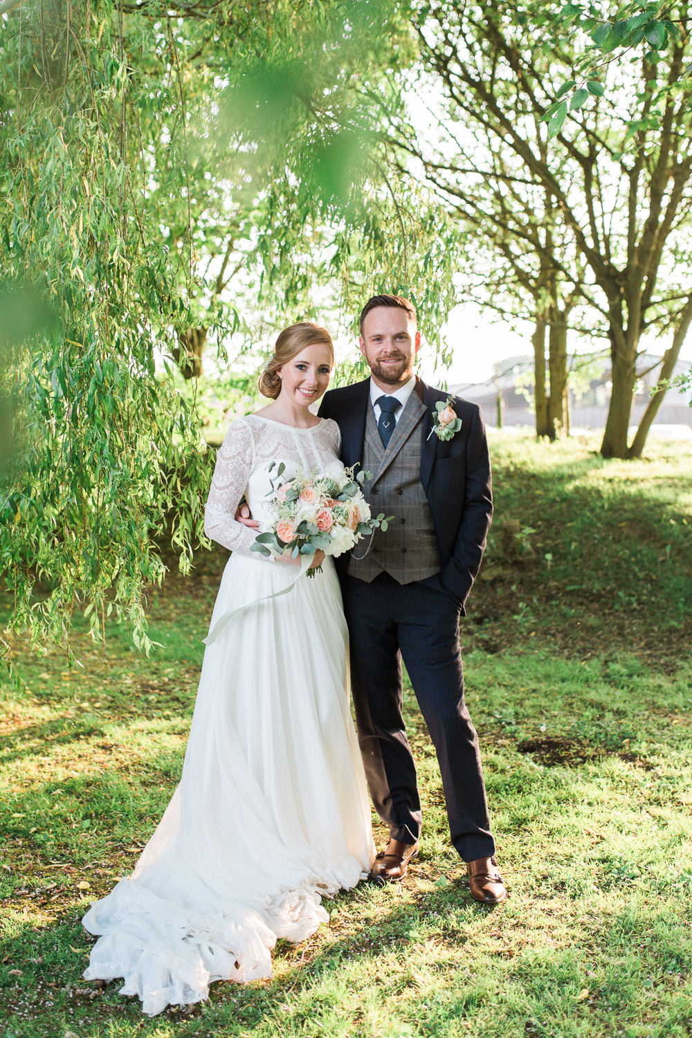 Bride Bridal Maggie Sottero Lace Long Sleeves A Line Navy Suit Groom Peach Rose Peony Eucalyptus Bouquet Tweed Waistcoat Moreves Barn Wedding Gemma Giorgio Photography