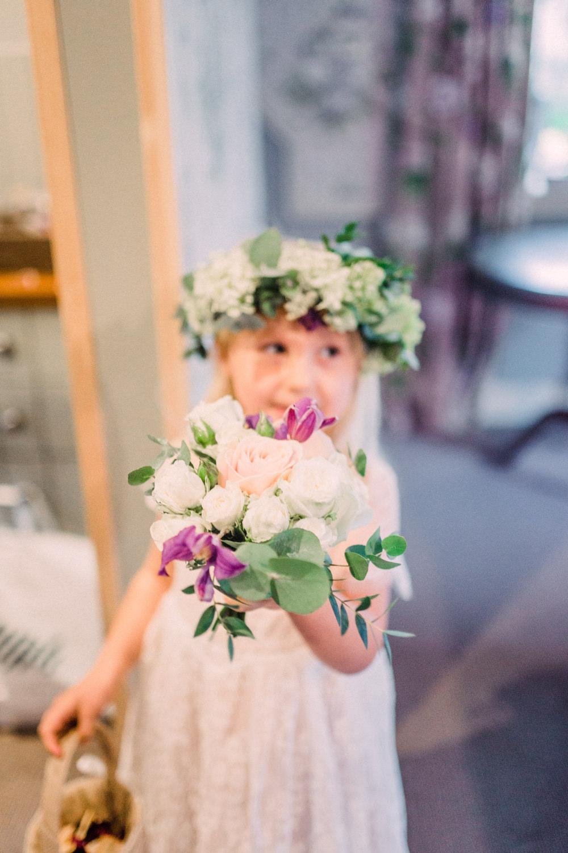 Bouquet Flowers Bride Bridal Flower Girl Rose Greenery Foliage Eucalyptus Pheasant Harome Wedding Yorkshire Arabella Smith Photography