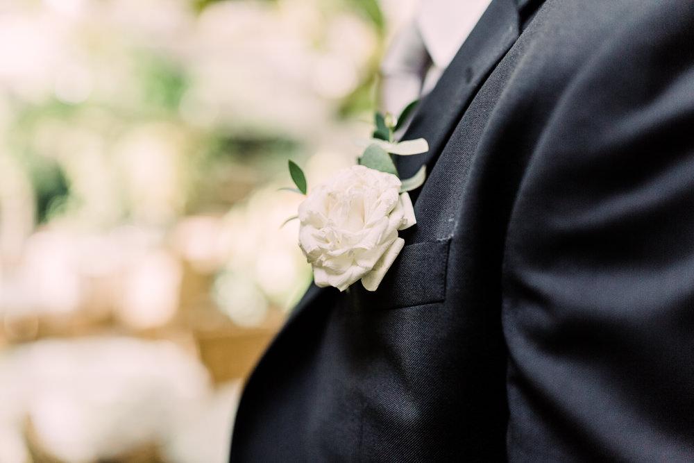 White Rose Buttonhole Groom Pheasant Harome Wedding Yorkshire Arabella Smith Photography