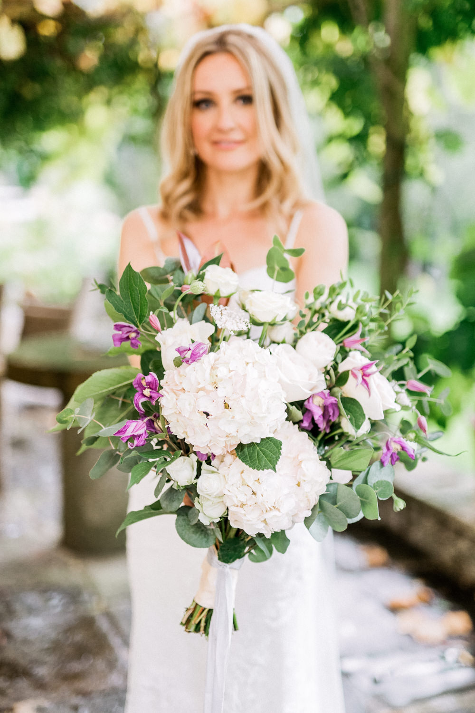 Bouquet Flowers Bride Bridal Hydrangea Rose Greenery Foliage Eucalyptus Pheasant Harome Wedding Yorkshire Arabella Smith Photography