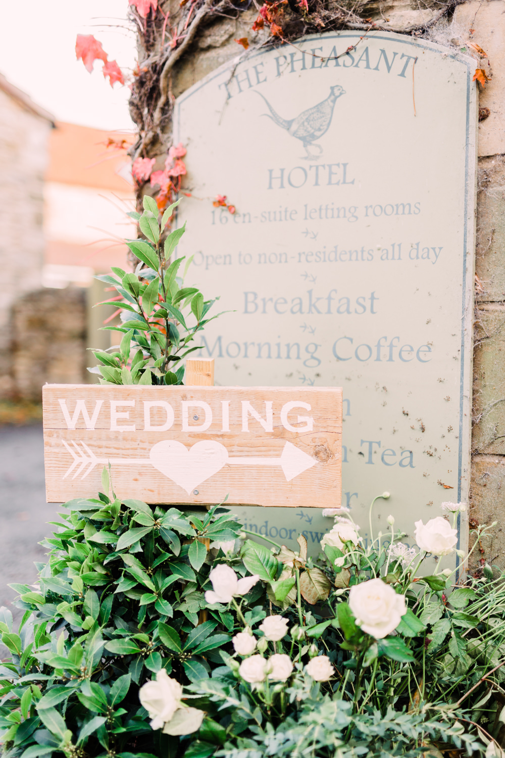 Wooden Sign Post Signage Pheasant Harome Wedding Yorkshire Arabella Smith Photography