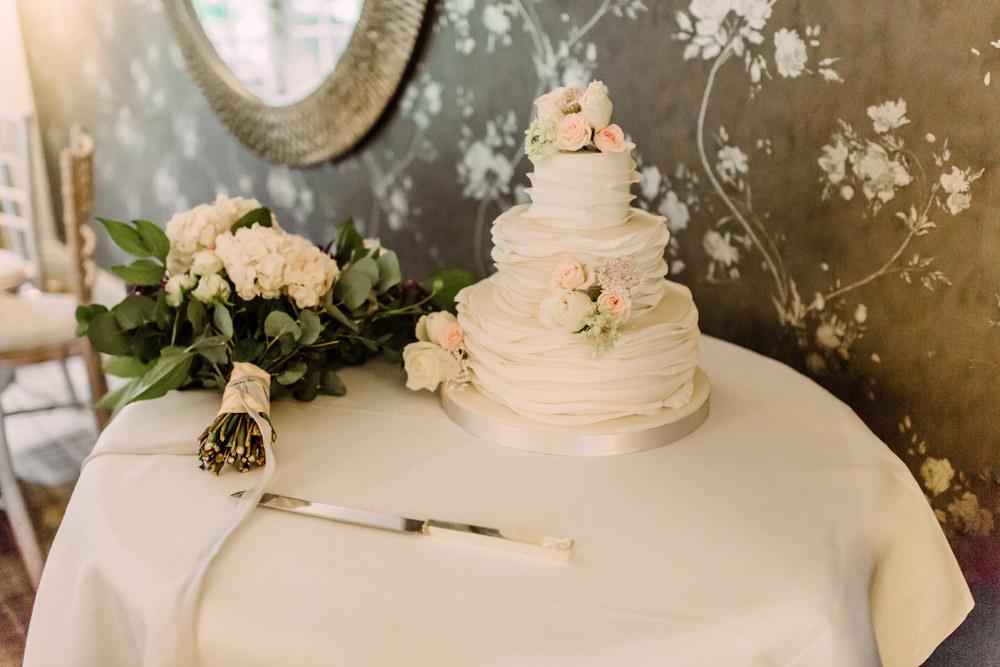 Ruffle Ice Cake Flowers Pheasant Harome Wedding Yorkshire Arabella Smith Photography