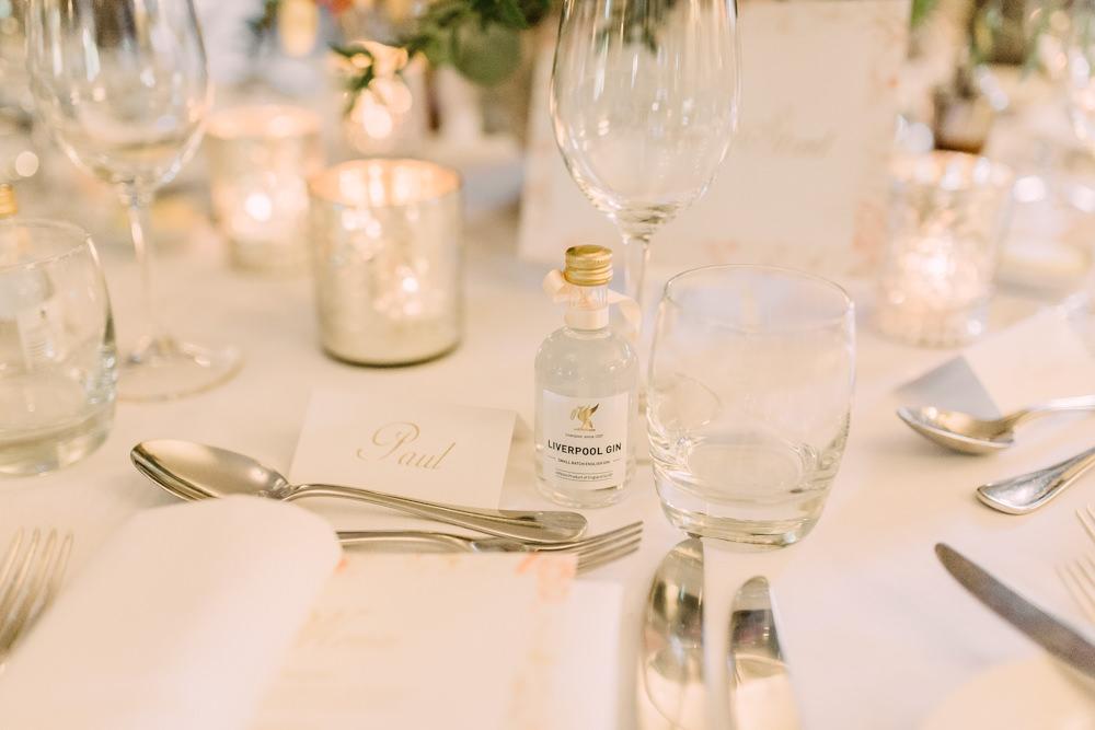 Mini Gin Bottle Favours Pheasant Harome Wedding Yorkshire Arabella Smith Photography