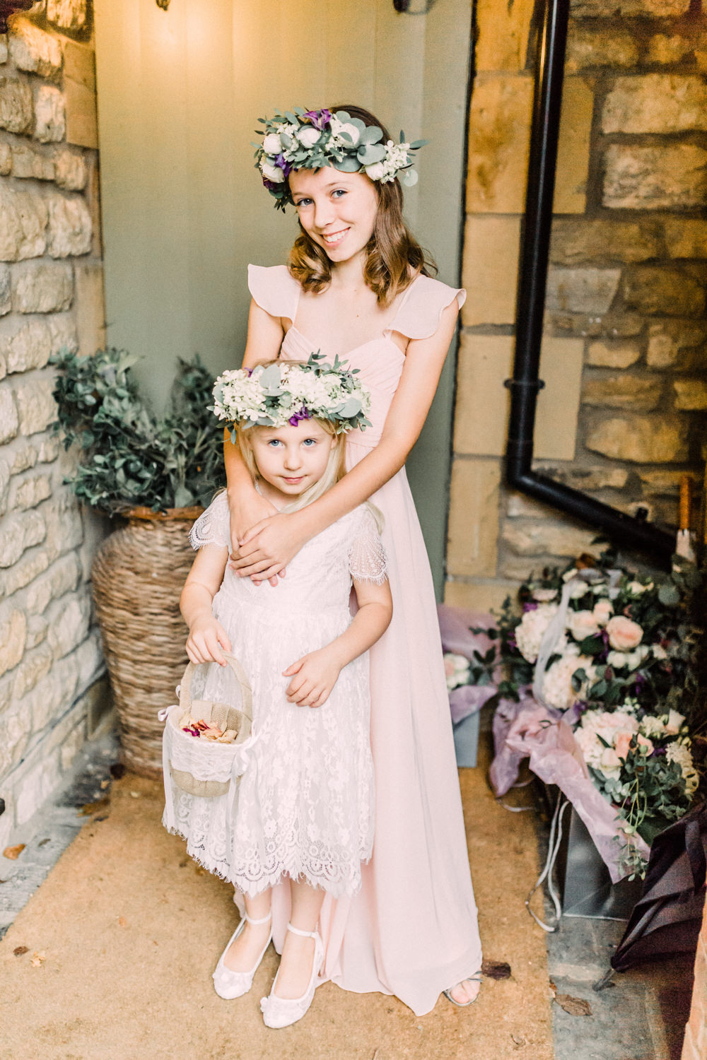 Flower Girl Bridesmaid Flower Crowns Petal Basket Pink Dress Pheasant Harome Wedding Yorkshire Arabella Smith Photography