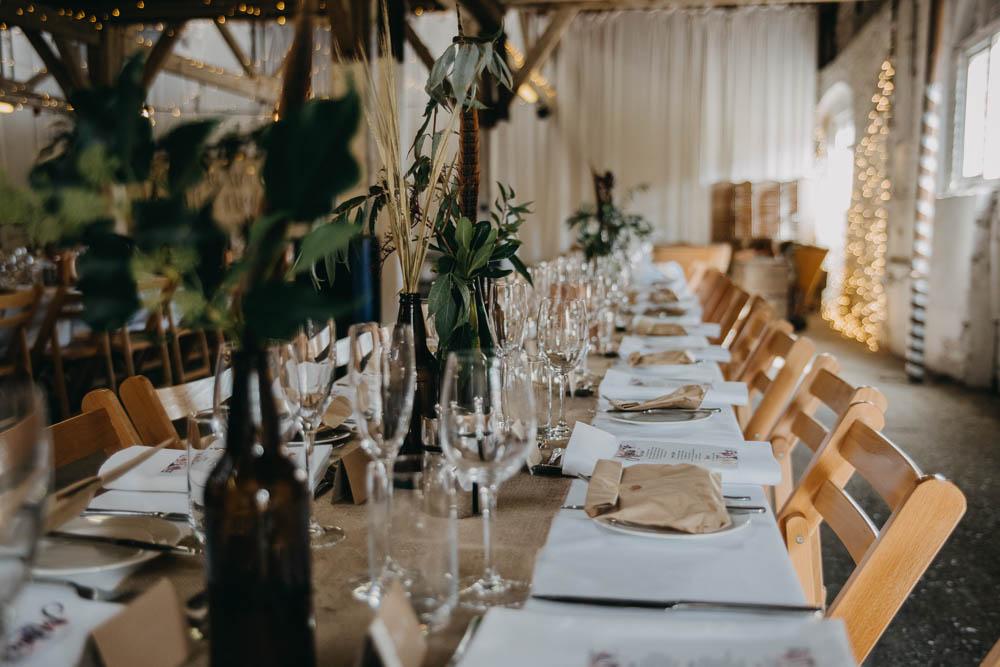Table Setting Greenery Eucalyptus Rustic Wooden Railway Barn Wedding Lottie Photography