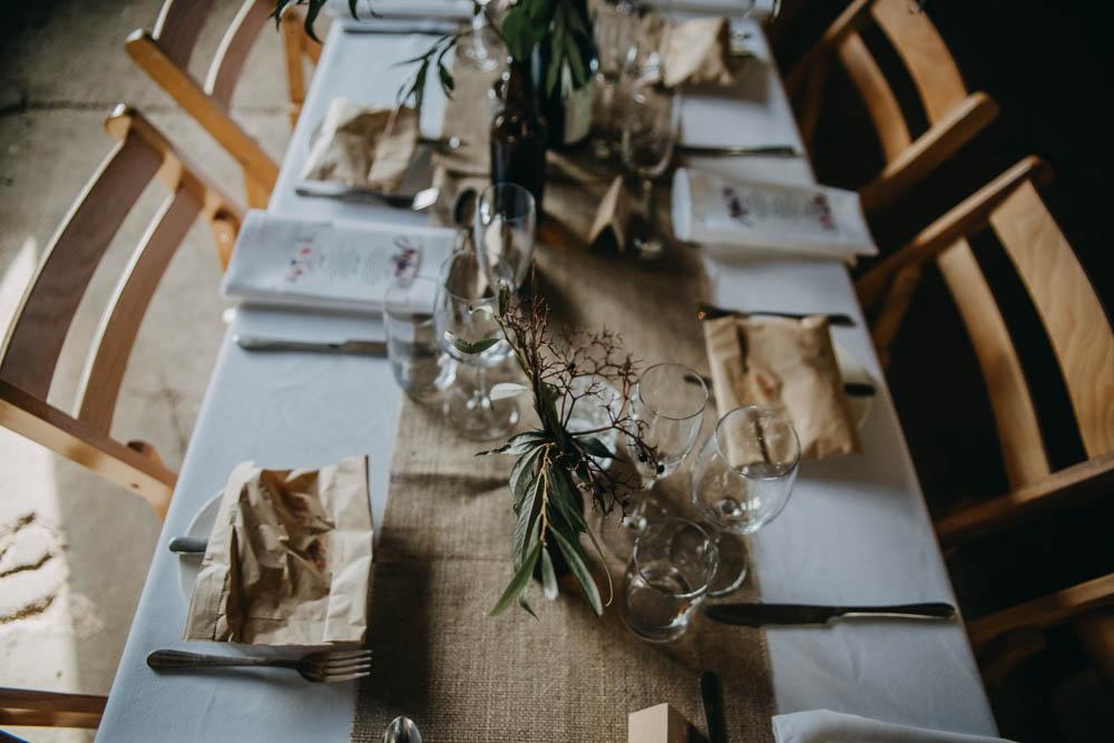Table Setting Hessian Runner Greenery Wooden Rustic Railway Barn Wedding Lottie Photography