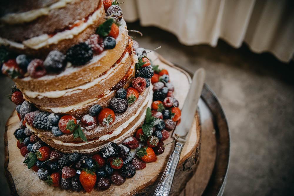 Naked Victoria Sponge Fruit Tiered Wood Slice Tree Railway Barn Wedding Lottie Photography