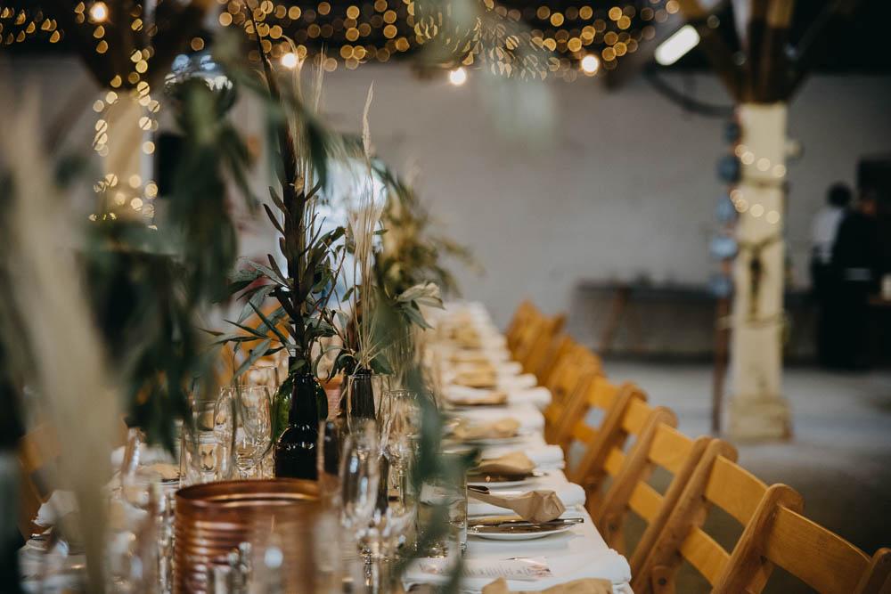 Rustic Table Setting Greenery Fairy Lights Railway Barn Wedding Lottie Photography