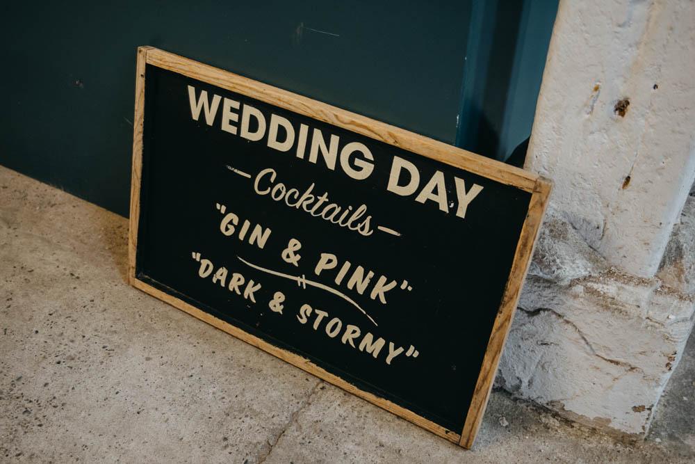 Wedding Day Sign Drinks Menu Vintage Railway Barn Wedding Lottie Photography