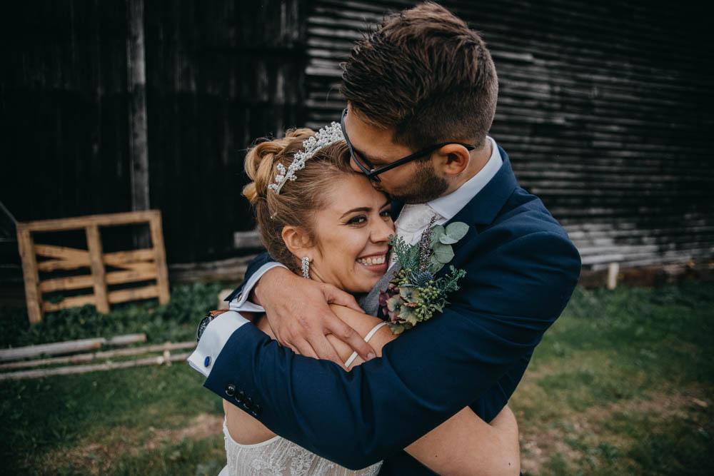 Bride Bridal Lace Dress Gown Train Tiara Veil Sequin Embellished Navy Moss Bros Groom Railway Barn Wedding Lottie Photography