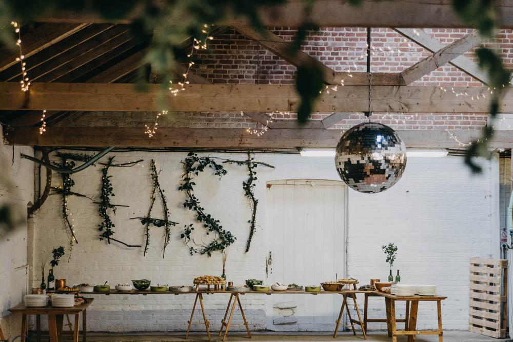 Feast Buffet Table Rustic Wooden Foliage Disco Ball Railway Barn Wedding Lottie Photography
