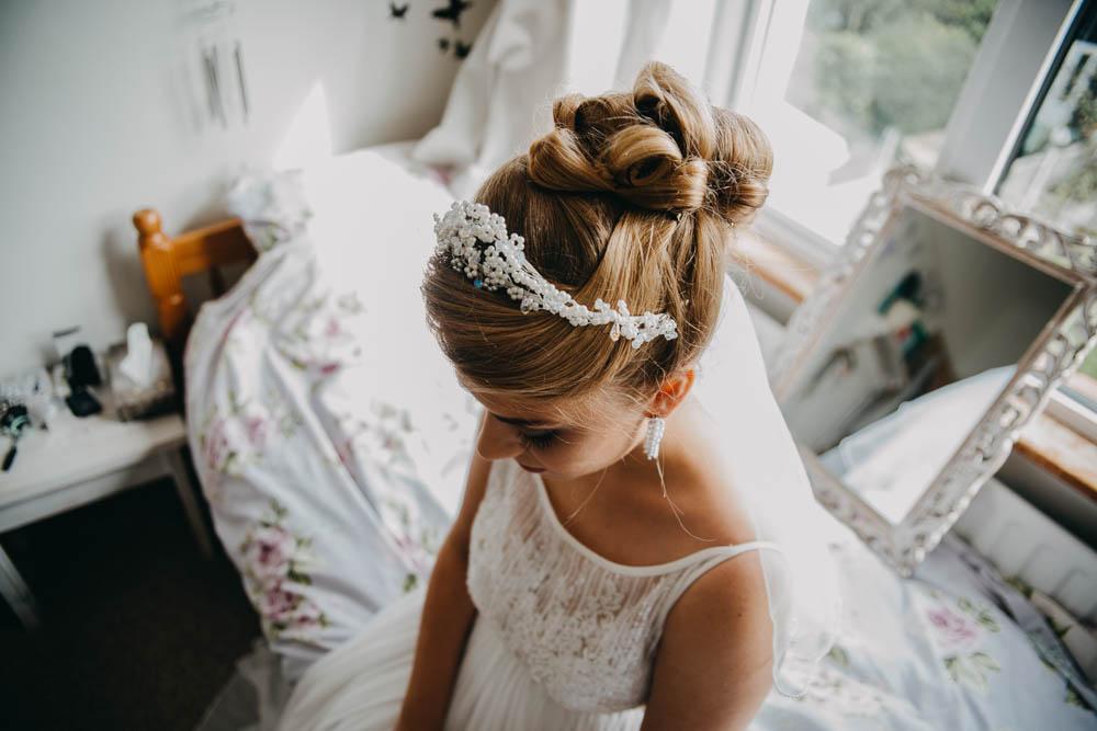 Bride Bridal Up Do Hairstyle Tiara Railway Barn Wedding Lottie Photography