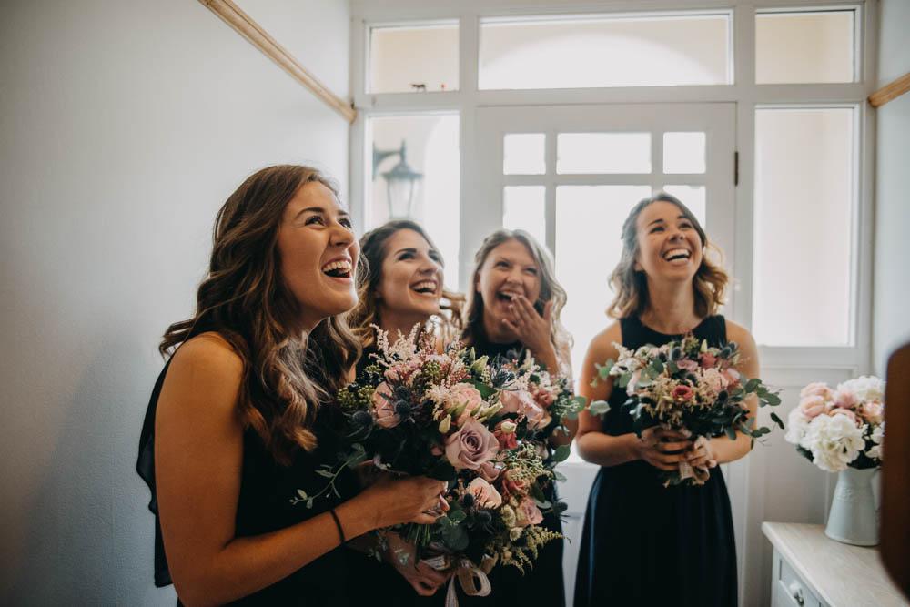 Navy Bridesmaids Bouquets Multicolour Railway Barn Wedding Lottie Photography