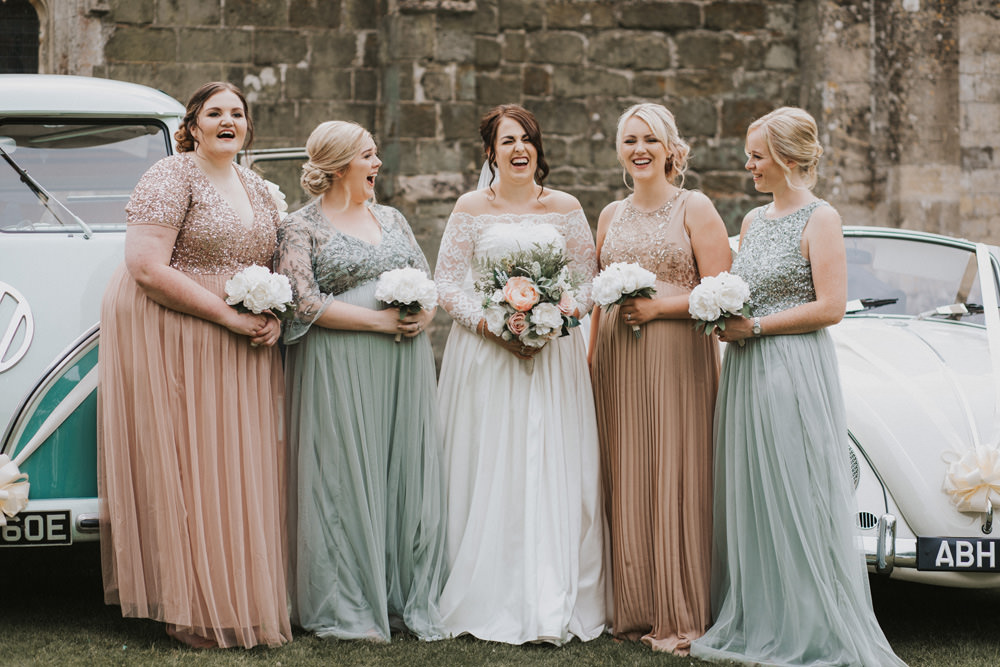 Outdoor Farm Field Rustic Garden Marquee Bride Bridesmaids Blush Sage Faux Bouquets | Fun and Relaxed Scrivelsby Walled Garden Wedding Brook Rose Photography