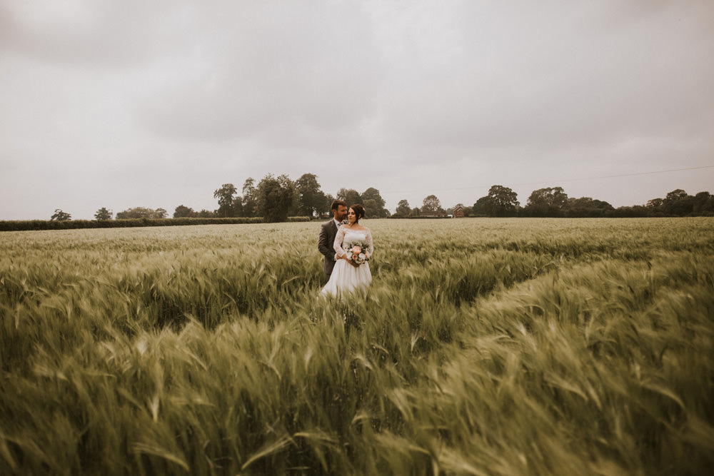 Outdoor Farm Field Wheat Rustic Garden Marquee Bride Bouquet Groom Lace Dress | Fun and Relaxed Scrivelsby Walled Garden Wedding Brook Rose Photography
