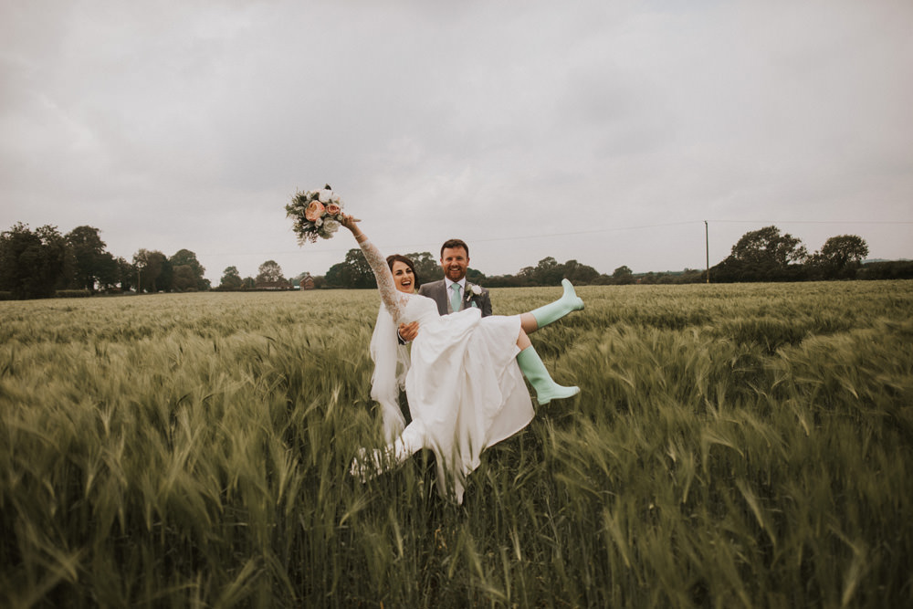 Outdoor Farm Field Rustic Garden Marquee Bride Groom Wellies | Fun and Relaxed Scrivelsby Walled Garden Wedding Brook Rose Photography
