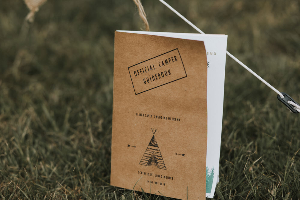 Outdoor Farm Field Wheat Rustic Garden Marquee Camper Guidebook Stationery | Fun and Relaxed Scrivelsby Walled Garden Wedding Brook Rose Photography