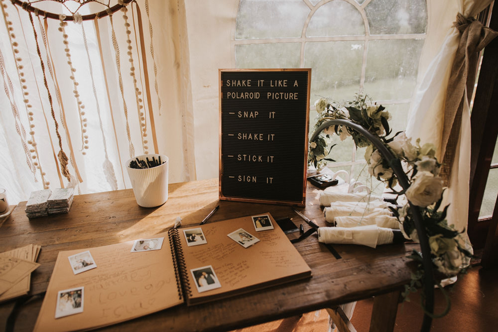 Outdoor Farm Field Wheat Rustic Garden Marquee Foliage Garland Wooden Trestle Polaroid Guestbook | Fun and Relaxed Scrivelsby Walled Garden Wedding Brook Rose Photography