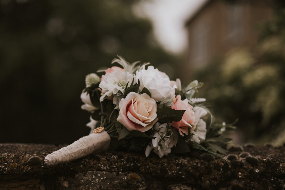 Outdoor Farm Field Rustic Garden Marquee Bridal Bouquet Faux Flowers Pink White Green | Fun and Relaxed Scrivelsby Walled Garden Wedding Brook Rose Photography