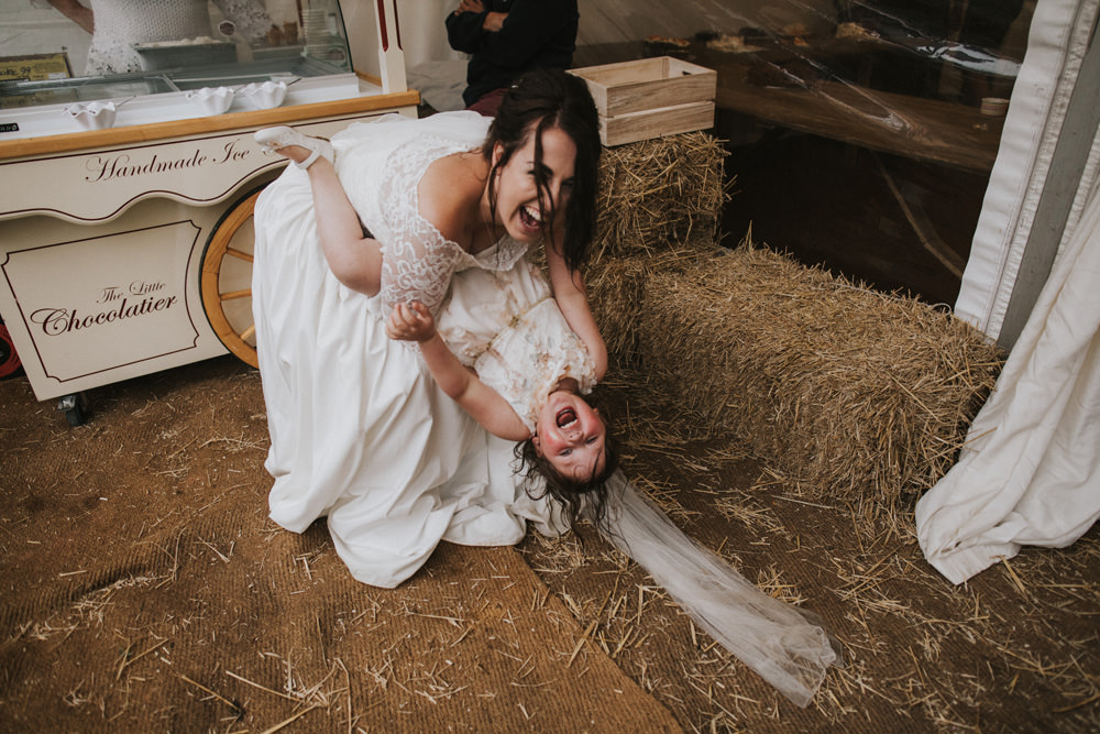 Outdoor Farm Field Wheat Rustic Garden Marquee Bell Tents Bride Ice Cream Hay Bale | Fun and Relaxed Scrivelsby Walled Garden Wedding Brook Rose Photography