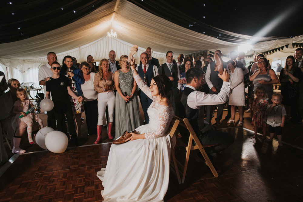 Outdoor Farm Field Wheat Rustic Garden Marquee Dance Floor Mr and Mrs Shoe Game Bride Groom | Fun and Relaxed Scrivelsby Walled Garden Wedding Brook Rose Photography