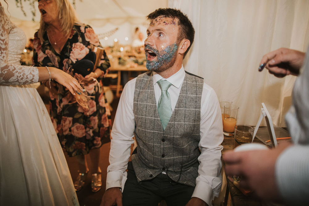 Outdoor Farm Field Wheat Rustic Garden Marquee Bride Groom Glitter Beard | Fun and Relaxed Scrivelsby Walled Garden Wedding Brook Rose Photography