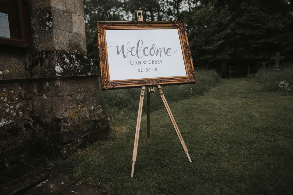 Outdoor Farm Field Rustic Garden Marquee Welcome Sign Gold Frame Easel | Fun and Relaxed Scrivelsby Walled Garden Wedding Brook Rose Photography