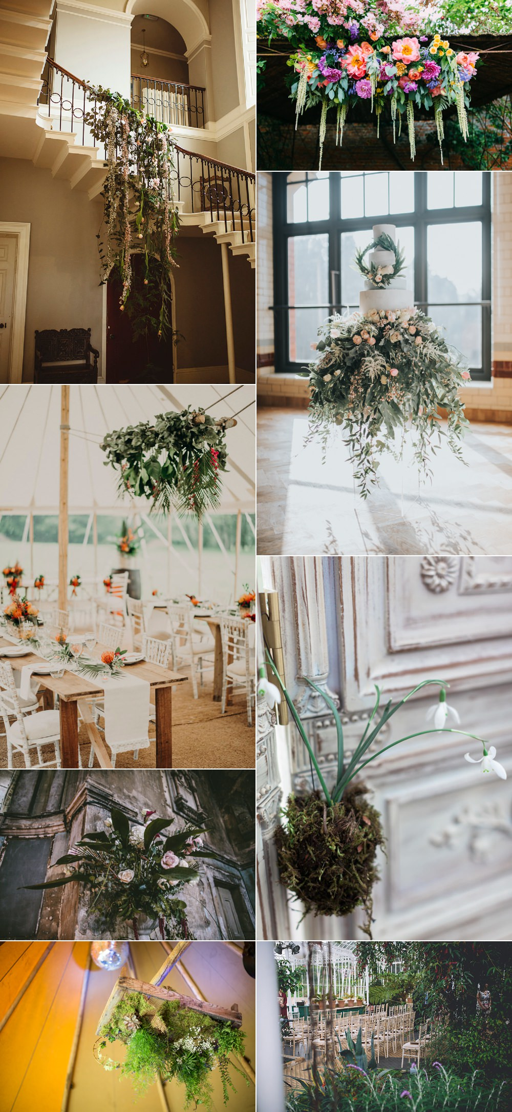 Decor Suspended Hanging Floral Flower Ideas Wedding Inspiration
