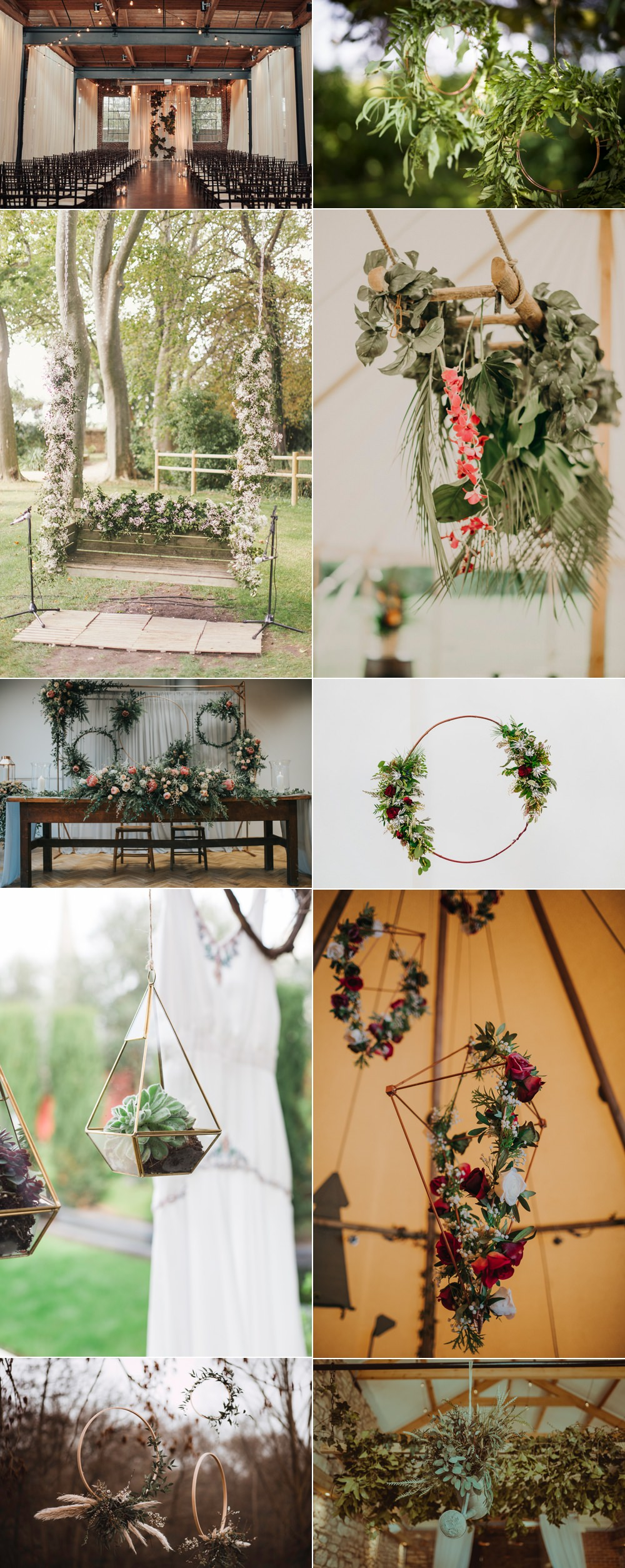 Suspended Hanging Floral Flower Ideas Wedding Inspiration