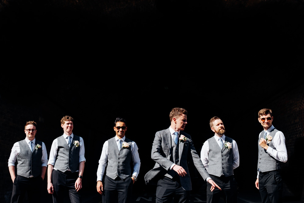Groom Groomsmen Reiss Waistcoat Three Piece Grey Tweed Tanner Warehouse Wedding Marianne Chua Photography