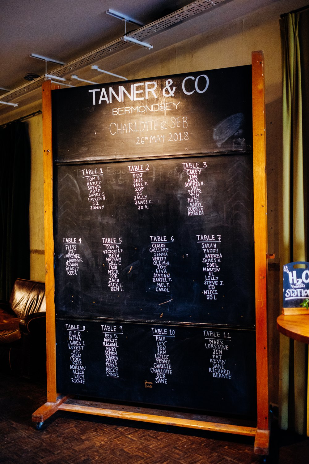 School Blackboard Table Plan Seating Chart Tanner Warehouse Wedding Marianne Chua Photography