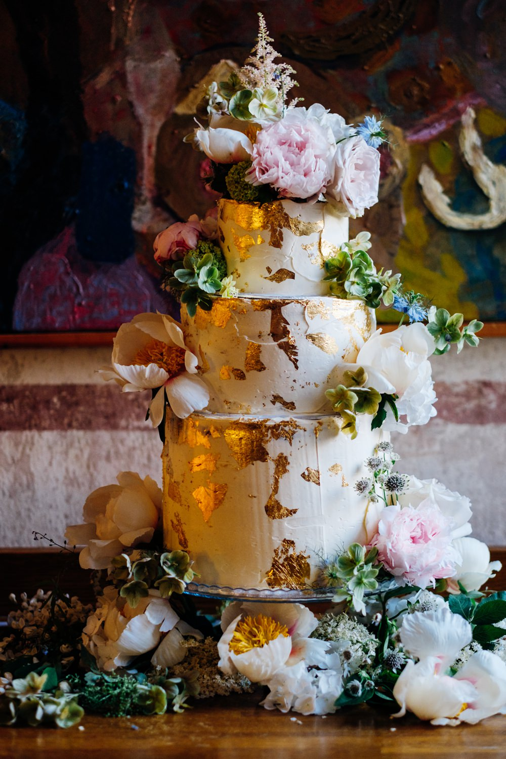 Cake Tiered Buttercream Gold Leaf Peonies Tanner Warehouse Wedding Marianne Chua Photography