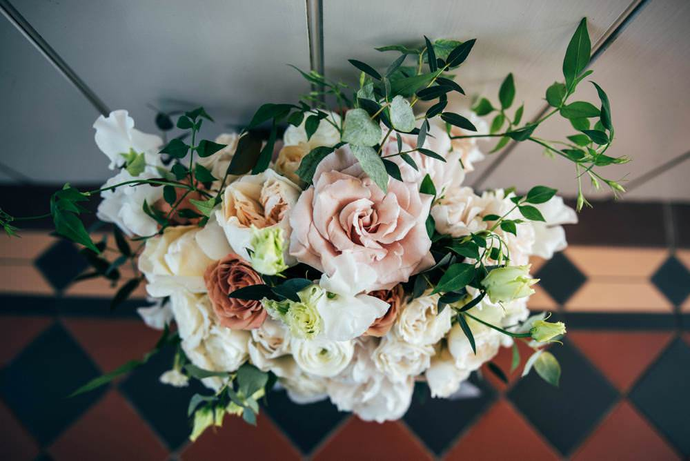 Bouquet Flowers Bride Bridal Pink Rose Cream Greenery Warm Welcoming Wedding Three Flowers Photography