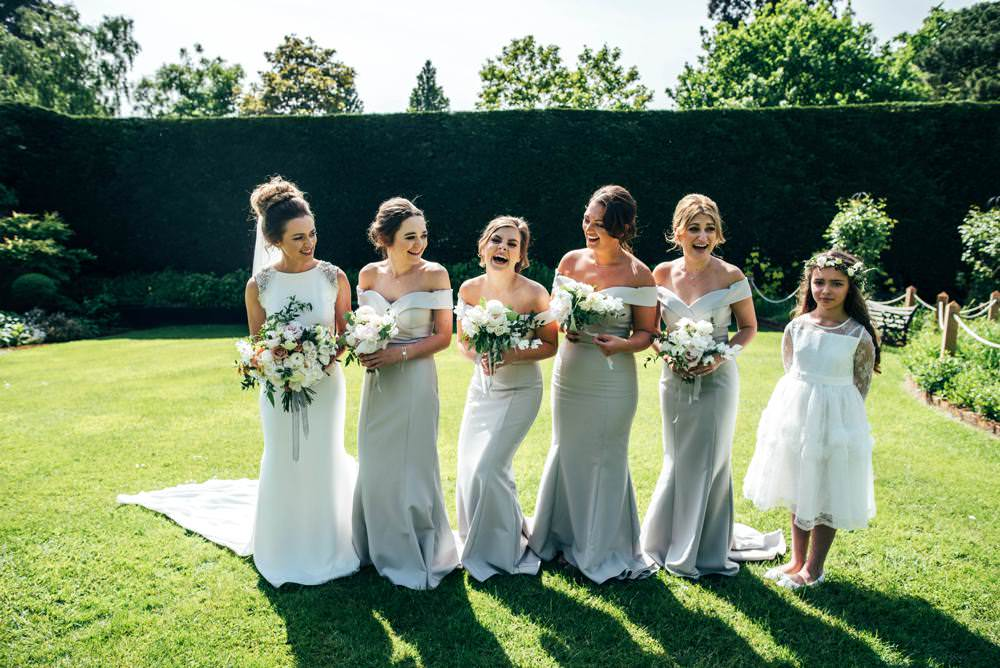 Dove Grey Long Bridesmaid Dresses Warm Welcoming Wedding Three Flowers Photography