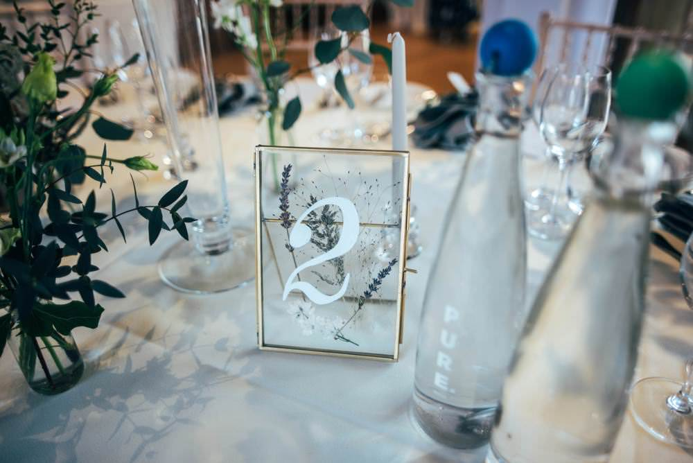 Glass Frame Table Number Pressed Flowers Warm Welcoming Wedding Three Flowers Photography