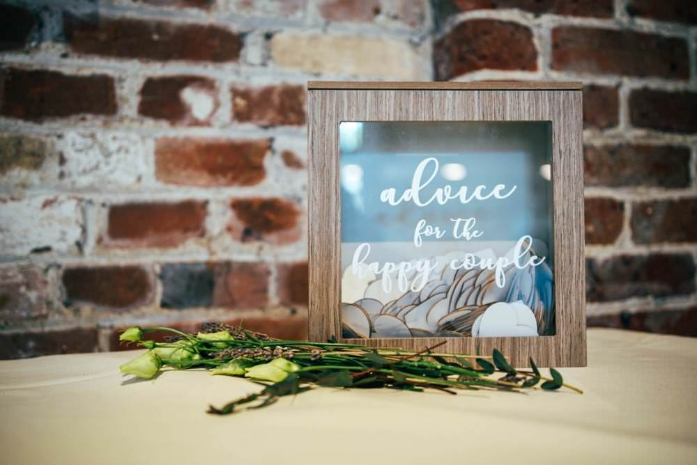 Advice Box Wooden Guest Book Warm Welcoming Wedding Three Flowers Photography