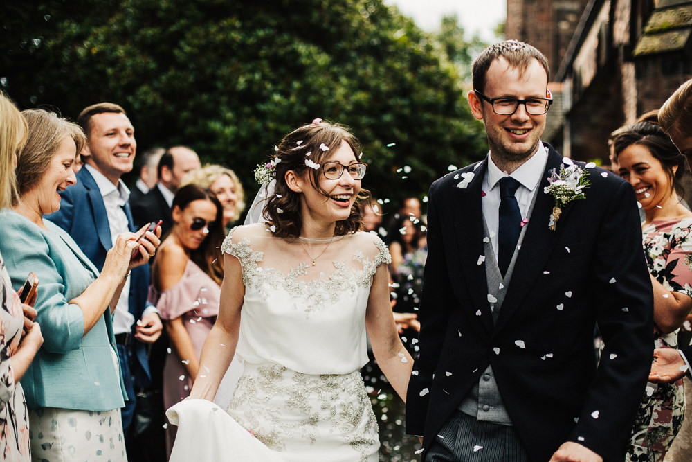 Bride Bridal Enzoani Fitted Wedding Dress Embellished Cap Sleeve Gypsophila Groom Tails Confetti Whimsical Countryside Sperry Tent Wedding Emilie May Photography