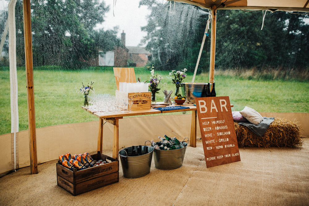 Bar Sign Setup Wooden Crate Metal Buckets Whimsical Countryside Sperry Tent Wedding Emilie May Photography