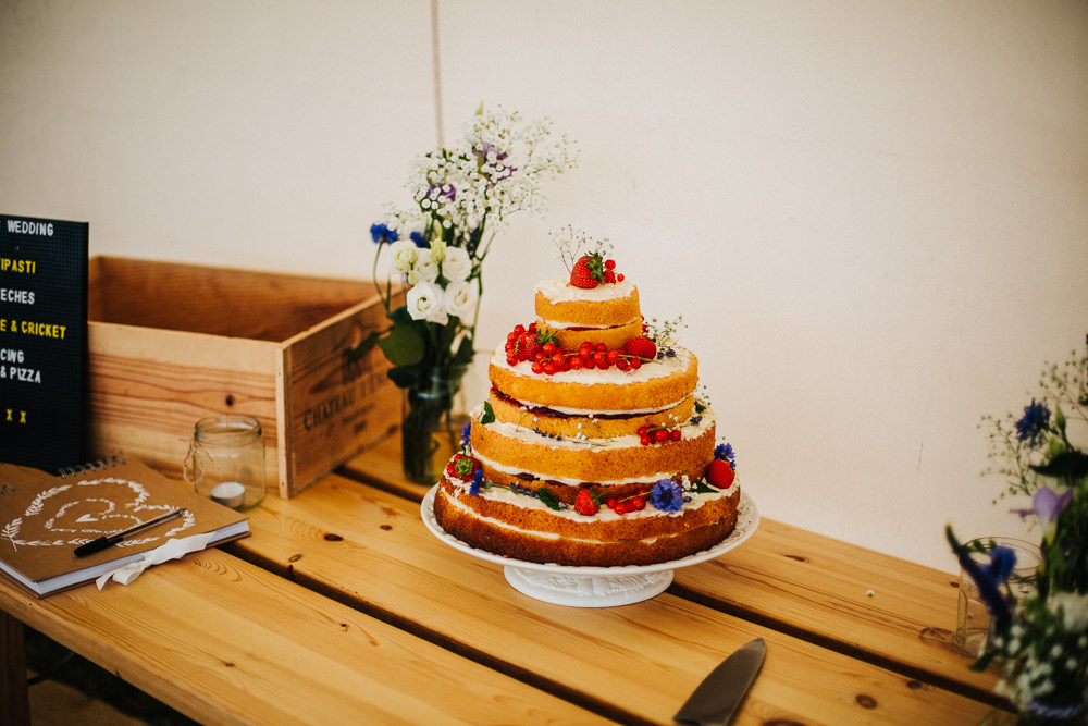 Naked Victoria Sponge Cake Fruit Gypsophila Table Crate Jar Whimsical Countryside Sperry Tent Wedding Emilie May Photography