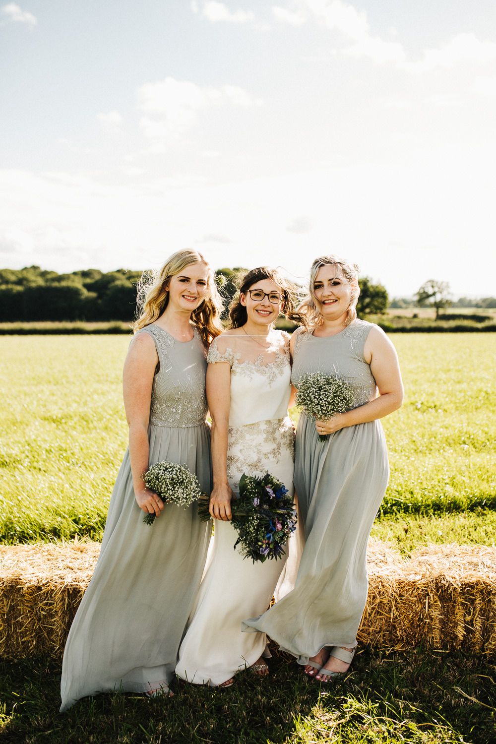 Bride Bridal Enzoani Fitted Wedding Dress Embellished Cap Sleeve Gypsophila Grey Bridesmaids Whimsical Countryside Sperry Tent Wedding Emilie May Photography