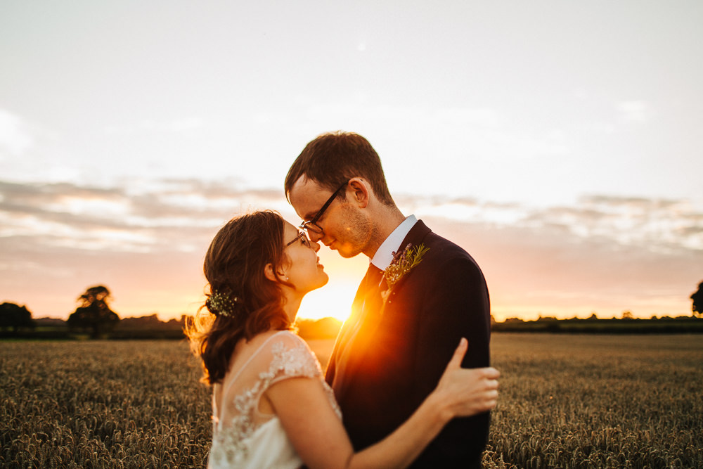 Bride Bridal Enzoani Fitted Wedding Dress Embellished Cap Sleeve Gypsophila Groom Tails Golden Hour Sunset Whimsical Countryside Sperry Tent Wedding Emilie May Photography