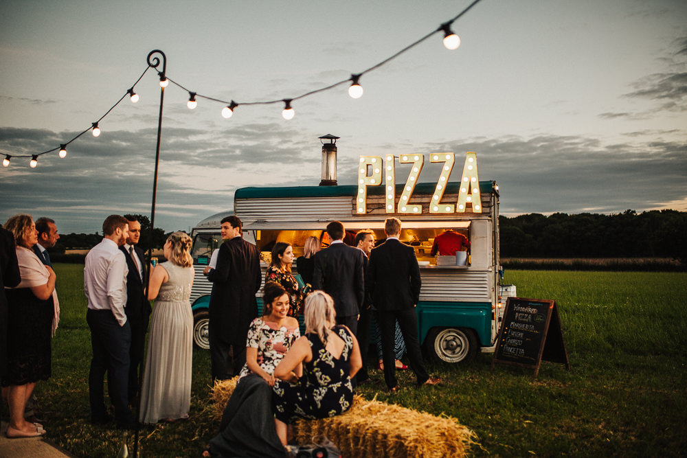 Pizza Van Circus Lights Whimsical Countryside Sperry Tent Wedding Emilie May Photography