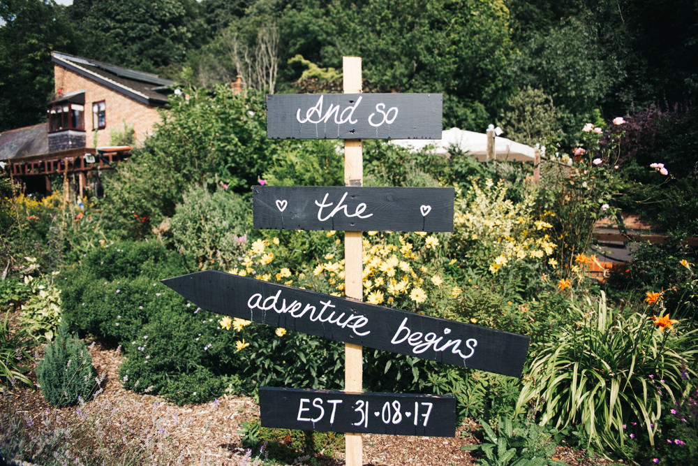 Chalk Board Sign Post Wray's Barn Whinstone View Wedding Sally T Photography